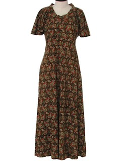 1970's Womens Gown Hippie Maxi Dress