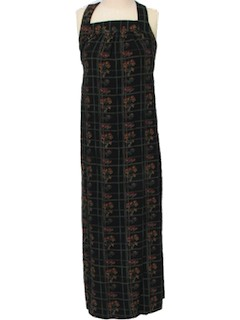 1970's Womens Gown Print Maxi Dress