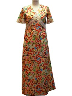 1970's Womens Empire Bust Knit Maxi Dress