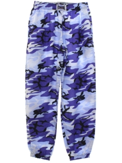1980's Mens Totally 80s Baggyz Brand Baggy Print Camo Pants
