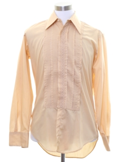 1970's Mens Pleated Embroidered Tuxedo Shirt