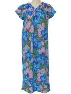 1970's Womens Hawaiian Maxi Muu Muu Dress
