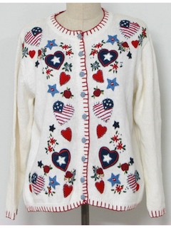 1980's Womens Patriotic Ugly Not-terribly-Christmasy Christmas Sweater