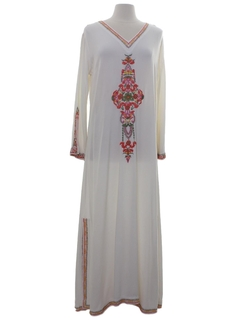 1970's Womens Hippie Lounge Maxi Dress