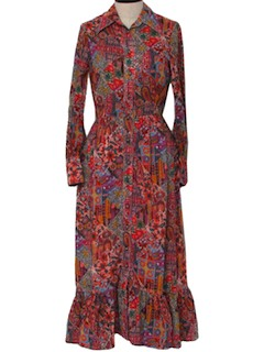 1970's Womens Gown Hippie Designer Maxi Dress
