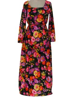 1960's Womens Gown Print Maxi Dress