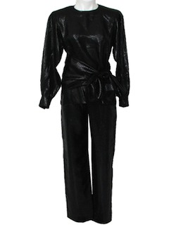 1980's Womens Totally 80s Designer Wet Look Pantsuit