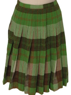 1960's Womens Christmas Green Plaid Wool Skirt