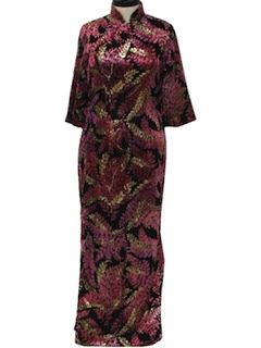 1980's Womens Cheongsam Cocktail Maxi Dress