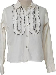1960's Womens Ruffled Tuxedo Shirt