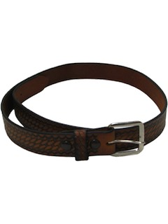 1970's Mens Accessories - Braided Look Stamped Leather Hippie Belt