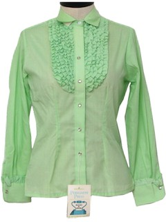 1960's Womens Ruffled Western Shirt