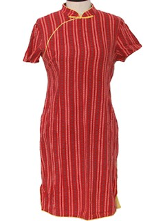1970's Womens Oriental Cheongsam Dress