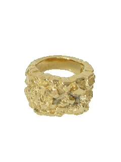 1970's Mens Accessories Jewelry - Gold Nugget Ring