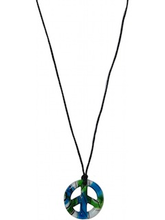 1970's Unisex Accessories - Murano Style Glass Peace Medallion Hippie Necklace