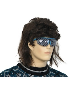 1980's Unisex Accessories - Wigs / Totally 80s Style Brown Mullet Wig