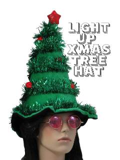 1980's Unisex Accessories - LIght up Hat /Ugly Christmas Tree Hat to wear with your Ugly Christmas Sweater
