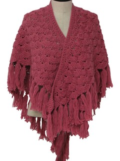 1970's Womens Crocheted Shawl