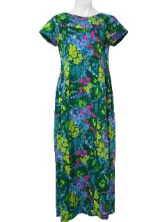 1960's Womens Gown Hawaiian Dress