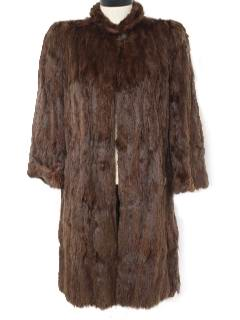 1960's Womens Rabbit Fur Long Coat Jacket