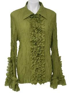 1980's Womens Ruffled Tuxedo Shirt