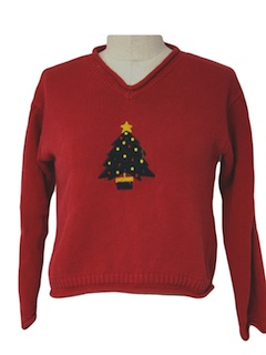 1980's Womens/Girls Minimalist Ugly Christmas Sweater