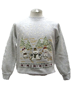 1980's Womens Bear-riffic Vintage Ugly Christmas Sweatshirt
