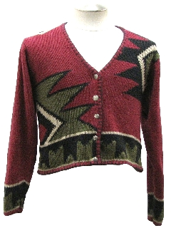 1980's Womens Totally 80s Look Ugly Christmas Cardigan Sweater