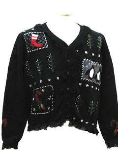 1980's Womens Fringed Totally 80s Look Ugly Christmas Sweater