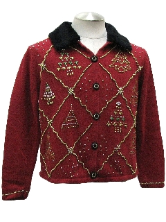 1980's Womens Ugly Christmas Beaded Cocktail Sweater