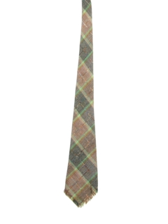 1930's Mens Plaid Fringed Necktie
