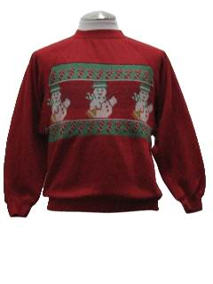 1980's Unisex Ugly Christmas Sweater-Look Sweatshirt