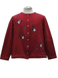 1980's Womens Ugly Christmas Cardigan Sweatshirt