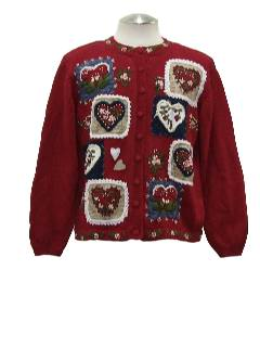 1990's Womens Country Kitsch Ugly Valentines Sweater