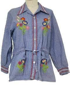 1970's Womens Denim Hippie Jacket