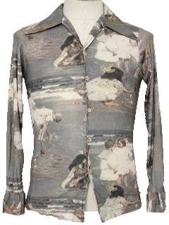 1970's Mens/Boys Photo Print Disco Shirt