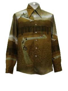 1970's Mens Kennington Collectible Print Disco Shirt