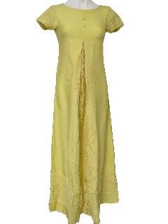 1960's Womens Mod Maxi Maternity Dress