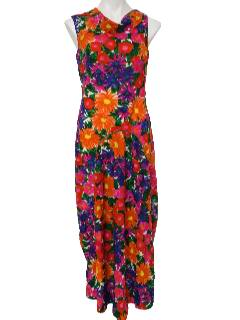 1970's Womens Hawaiian Style Maxi Dress