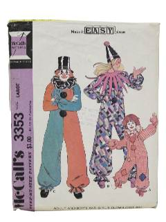 1970's Unisex Clown Costume Sewing Pattern