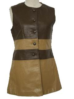 1970's Womens Mod Leather Dress