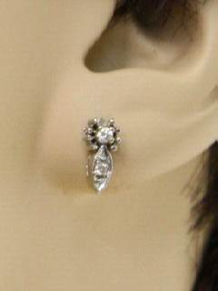 1980's Unisex Accessories - Diamond Pierced Earring