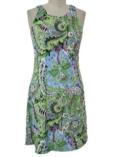 1970's Womens Hippie Style Print Mini Dress