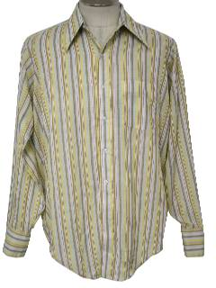 1970's Mens Mod Striped Shirt