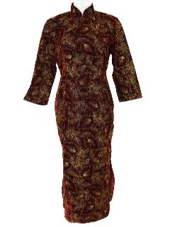 1980's Womens Cheongsam Style Cocktail Dress