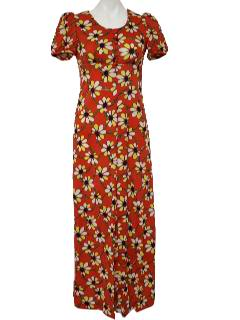 1970's Womens/Juniors Hippie Maxi Dress