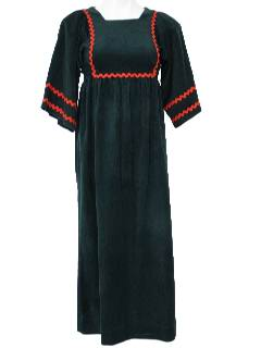 1970's Womens Empire Waist Hippie Maxi Dress