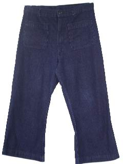 1970's Mens Navy Denim Bellbottoms Jeans Pants