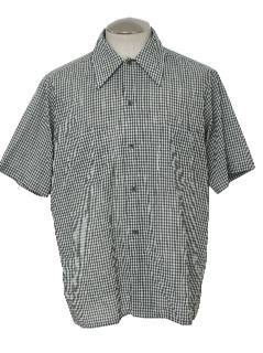 1970's Mens Mod Gingham Plaid Sport Shirt