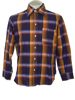 1970's Mens Mod Plaid Shirt